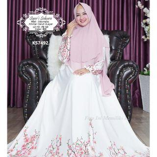 BN White Floral Long Maxi Modest Dress with Khimar Set