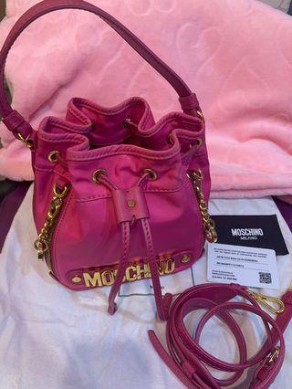 Moschino small bucket 2 way bag (hot pink)