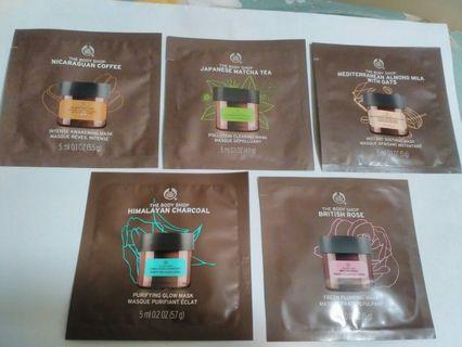 Body Shop facial cream mask, 5 packages, 5ml each