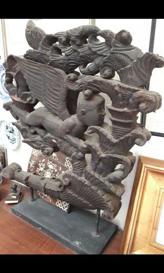 Vintage large intricate wood carving / Angel Symphony,Length: 62cm, Height: 80cm