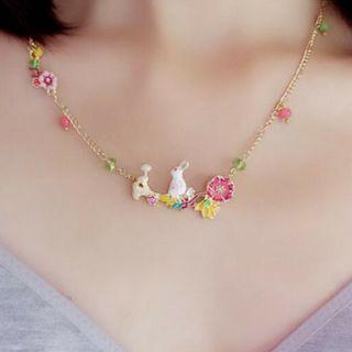 Cute Enamel Rabbit Necklace Flower Pendant