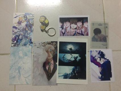 Assorted ACG merchandise anime postcard keychain
