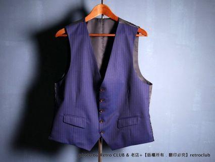 青山洋服 藍色 條紋 紳士 西裝背心 Suit Vest