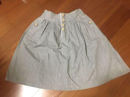 8成新✨日貨連線Zakka✨木釦鬆緊牛仔裙