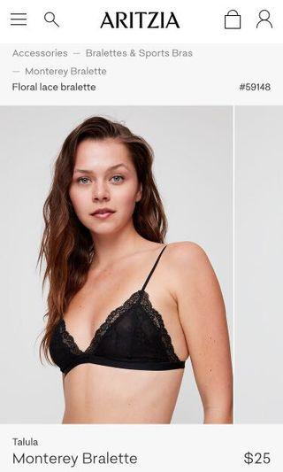BRAND NEW WITH TAGS ARITZIA BLACK LACE MONTEREY BRALETTE !