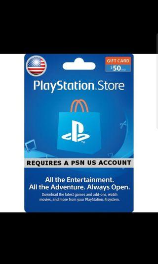 PSN Playstation Store 50 USD Gift Card