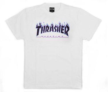 Thrasher 白底黑紫火焰 短T 全新 吊牌未拆 M