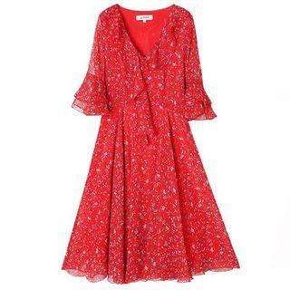 🚚 Red Floral Dress