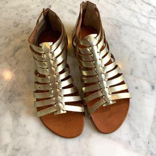 Brand New Gold Metallic Genuine Leather Gladiator Cage Sandals Shoes Women Made in Greece