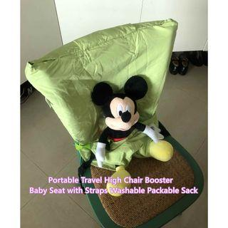 Portable Travel High Chair Booster Baby Seat with Straps Washable Packable Sack
