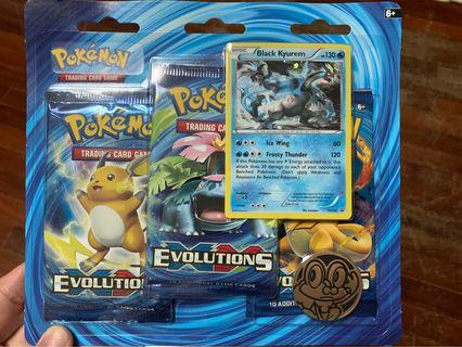 Pokemon Evolutions 3 Pack Blister with Coin and Promo Card.