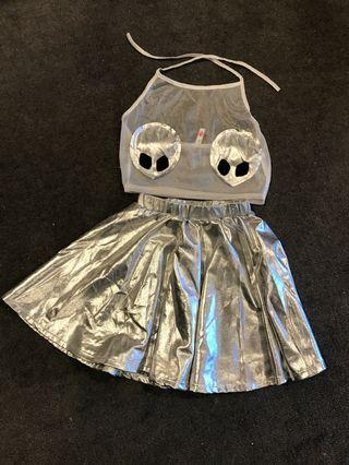 Alien Silver Reflective Rave Outfit
