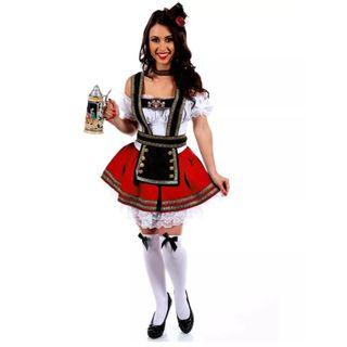 Oktoberfest Barmaid Womens' Costume - Red and Blue