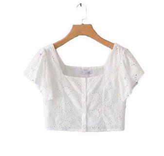 🚚 white square neck lace top