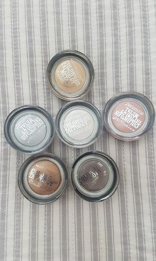 6 Various Maybelline 24hr Color Tattoo Metal Eyeshadows