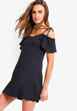 Zalora Basics tie strap cold shoulder dress