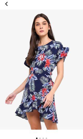 Zalora navy blue ruffles fit and flare dress