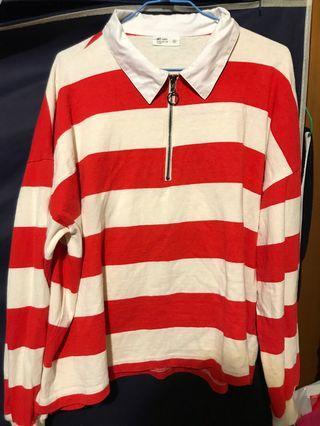 🚚 紅米白條紋長袖上衣