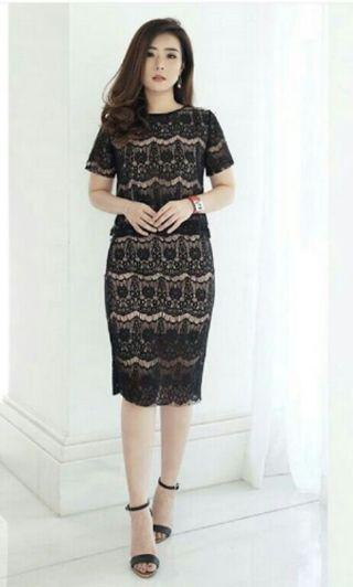 setelan lace black*beli 399rb d hervogue
