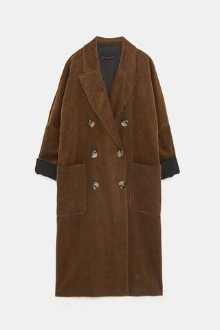Zara corduroy double breasted long jacket/light coat
