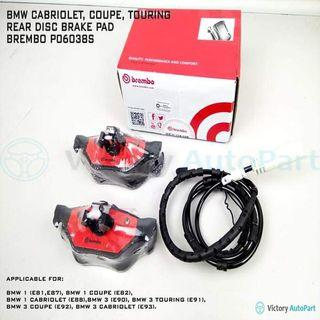 BMW CABRIOLET, COUPE, TOURNING REAR DISC BRAKE PAD BREMBO P06038S