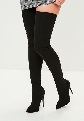 Missguided Thigh High Stretch Pointed Heel Boots