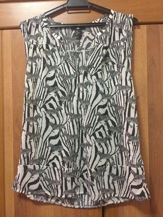 [H&M] Women Zebra Printed Sleeveless Blouse - No Tags