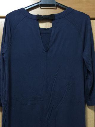 [MANGO] Women Midi Shift Dress With Bow Details Back - Navy Blue