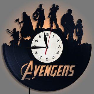 New Marvel The Avengers Vinyl Records Analog Wall Clock with LED Light