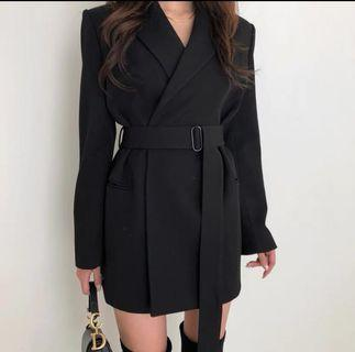 Black winter trench coat
