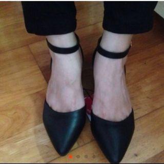 全新🆕NET 黑色繫帶跟鞋#面試#求職季
