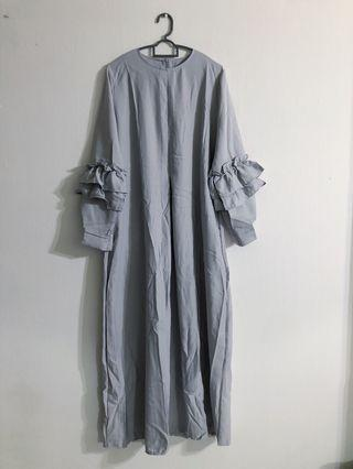 BN Grey Frill Sleeve Maxi Long Modest Dress