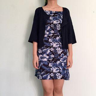 blue floral minidress + navy blue outer