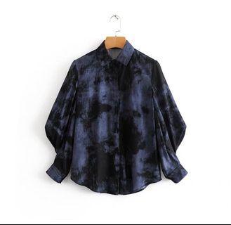 🚚 藏藍深藍水墨暈染染色長袖蓬蓬袖襯衫