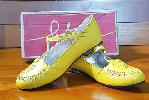 Leather shoes yellow