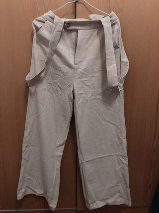 棉麻感落地吊帶寬褲(標籤未拆)
