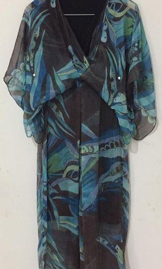 Night Gown (Long Dress) | Chiffon Silk | Local Designer - Bali | #Preloved
