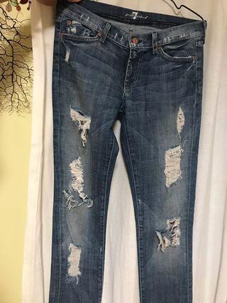 [斷捨離] 正貨 Seven 7 for all mankind size 27 爛牛仔褲 jeans made in USA
