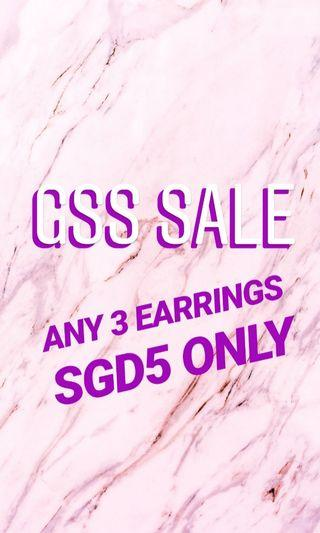 🚚 GSS SALE ANY 3 EARRINGS FOR SGD 5