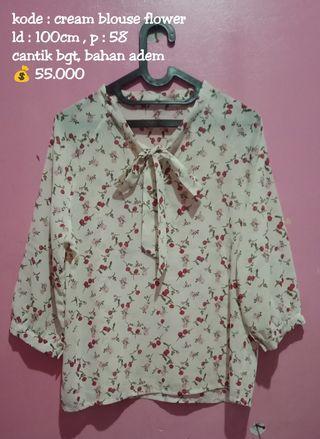 Cream blouse flower