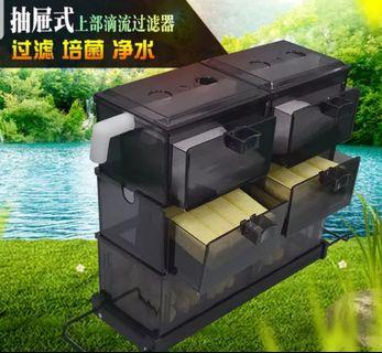 SALES!!! Promotion Price !!! Fish tank Over head filter with drawer, Overhead Filter For Fish Tank !!!  Type 1- Expandable Metal Tray, Small Filter Box, Double Rain Bar & Sump Water Flow System!!!  2)Fish Tank Media, Bio Bacteria Rod!!! Brand New set !!!