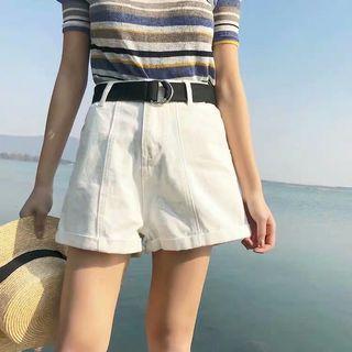 FREE POSTAGE  FREE BELT Retro high waisted white denim shorts