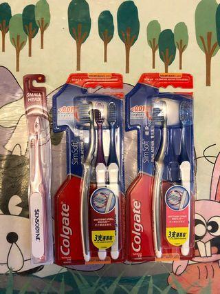 高露潔牙刷五枝加一支舒適達牙刷