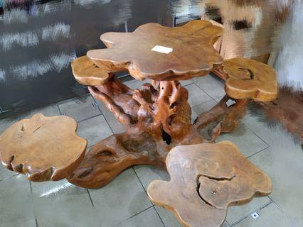 Antique wood tea table