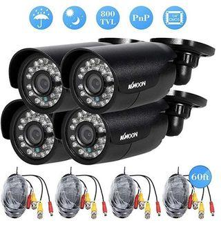 (E2173) KKmoon 4pcs 800TVL CCTV Outdoor Camera Set IR CUT Bullet Video Surveillance 3.6mm