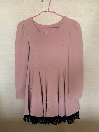 🚚 藕色 洋裝