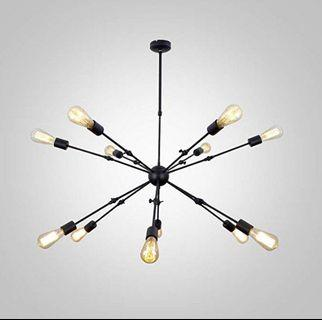 (E2171) (BTO)UNITARY BRAND Vintage Black Barn Chandelier with 12 Lights Painted Finish