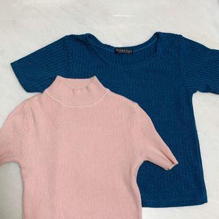 [Clearance] Ulzzang Pink/ Blue Ribbed Top