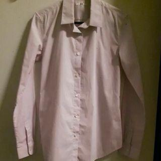 UNIQLO Pink/White Stripped Office Top