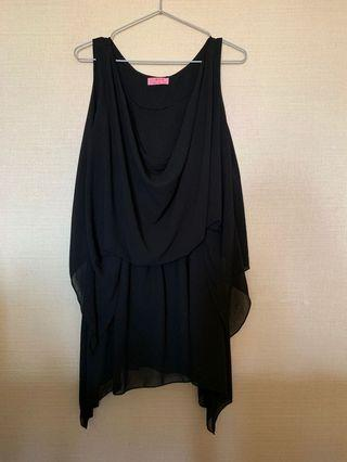 🚚 黑色雪紡背心洋裝